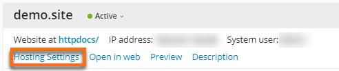 Plesk 18 Hosting settings
