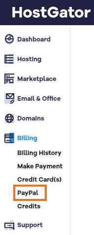 HostGator Customer Portal Menu - Billing - PayPal