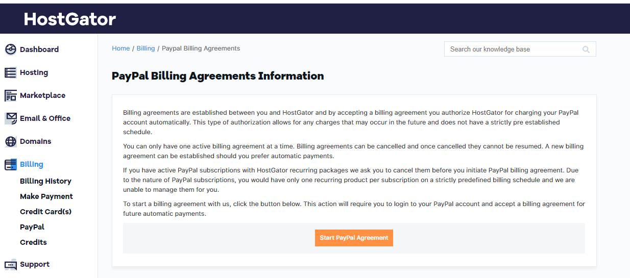 HostGator Customer Portal - Start PayPal Agreement