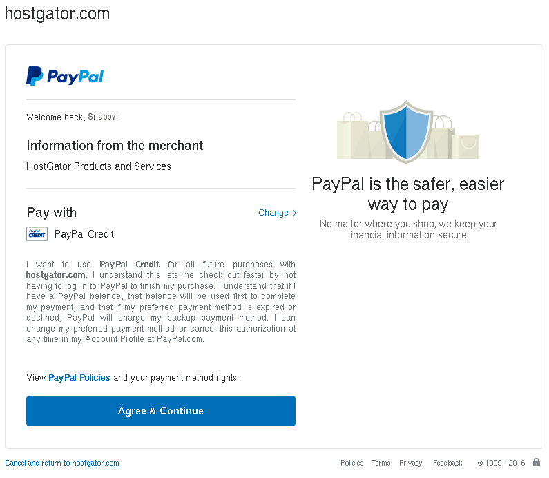 PayPal Billing Agreement agreement page.