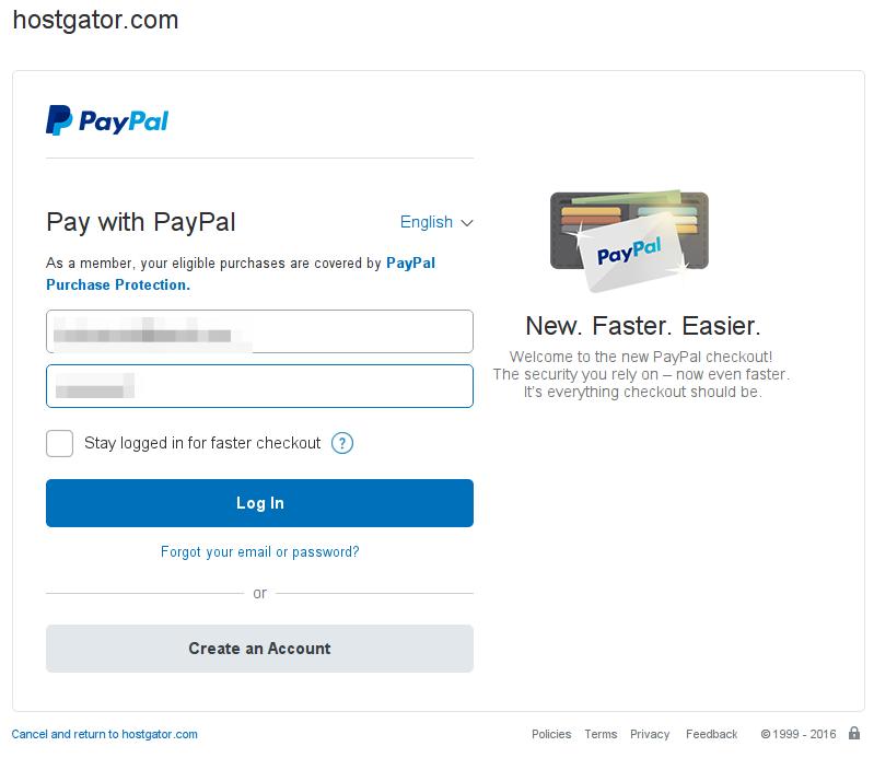 Paypal login page.