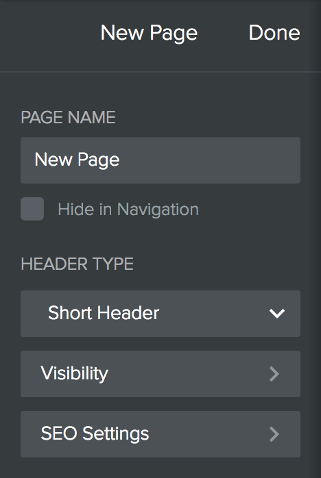 Weebly New Page Settings