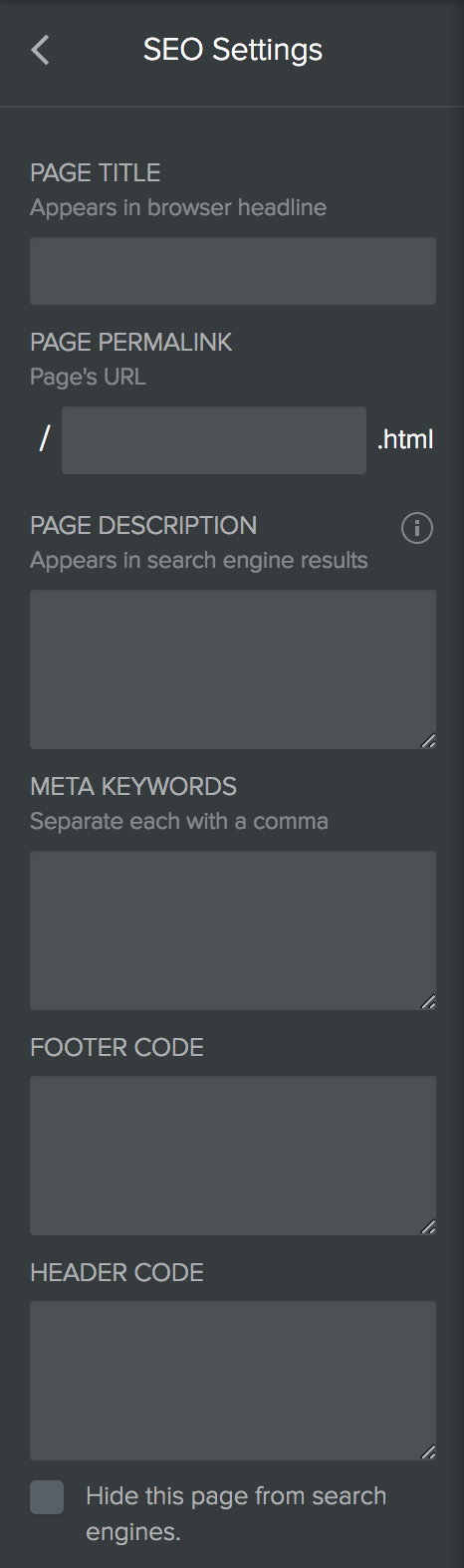 Weebly New Page SEO Settings
