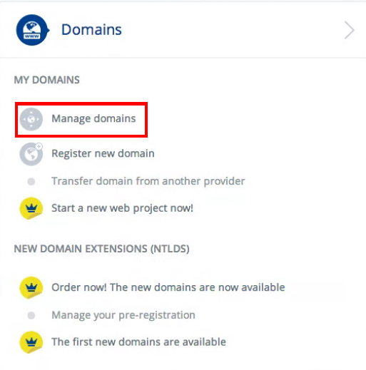 Manage domains section
