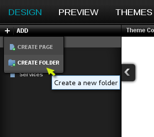 Select Create Folder from the drop down menu in the upper left part of the designer