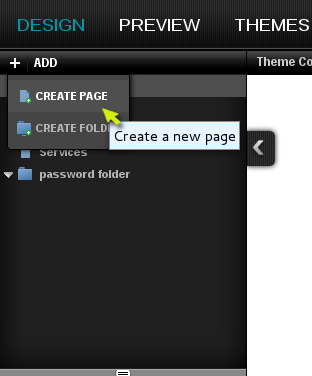 Select Create Page from the drop down menu in the upper left part of the designer