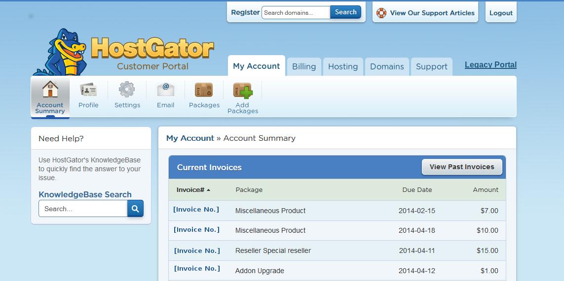 Billing Portal Overview « HostGator.com Support Portal