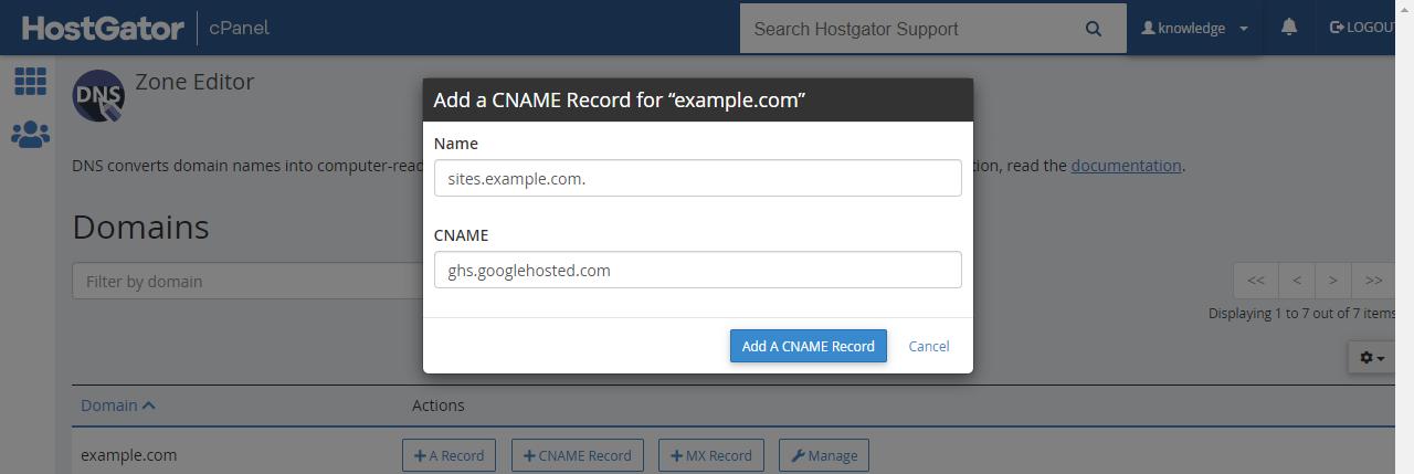 CNAME Google Record