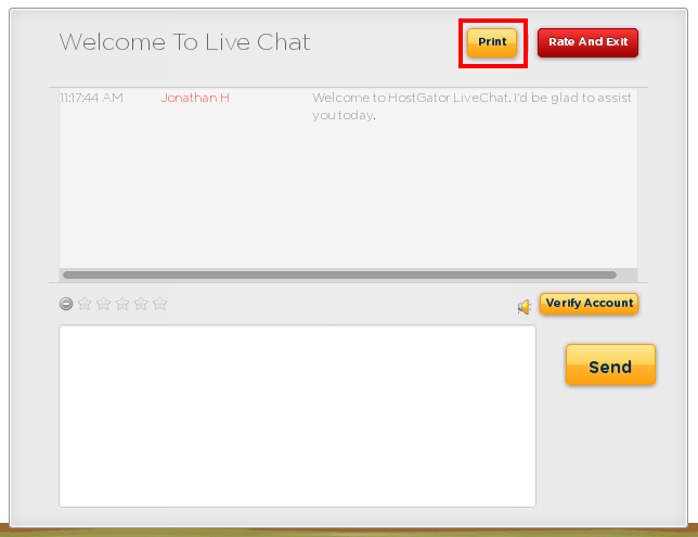 Click the Print button in the top right corner of your chat window.