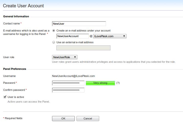 Create User Account Screen