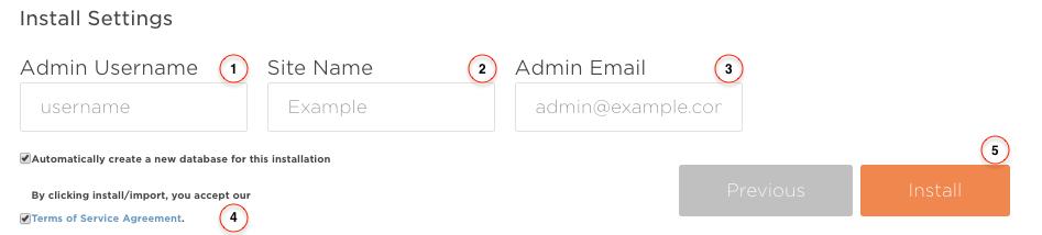Joomla Install Form