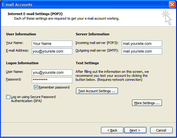 Email Setup for Outlook 2003 | HostGator Support