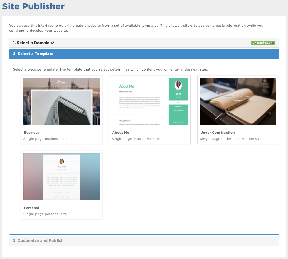 Step 2 in Site Publisher