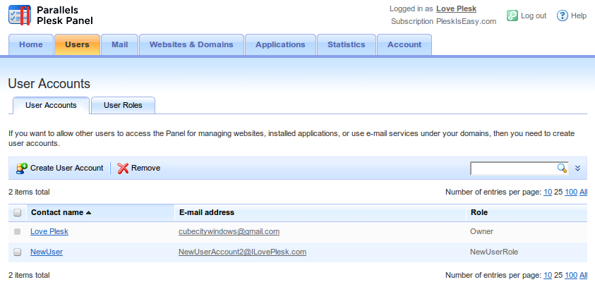 User Account Screen