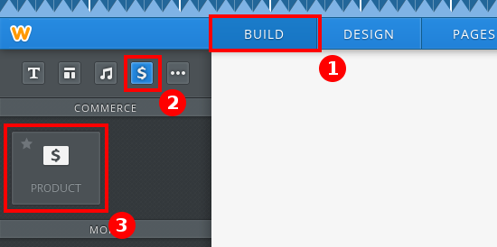 You can find the E-Commerce elements in the Elements tab under Revenue