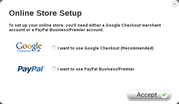 Picture of the popup dialog box asking which store type to setup