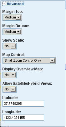 The Advanced options in the Weebly Google Maps element toolbar
