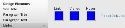 The links section of the Design Options
