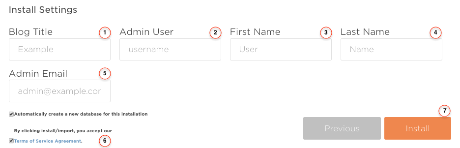 Wordpress Install Form
