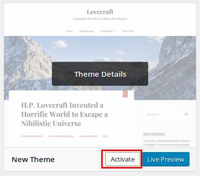 WordPress themes menu.