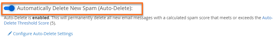 Enabled Auto Delete New Spam