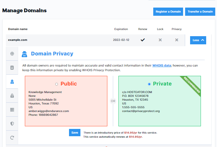 Domain Privacy Page