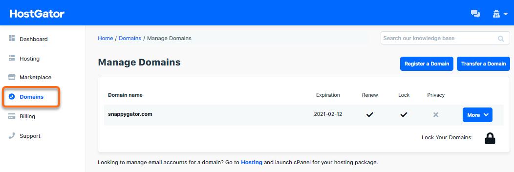 HostGator - Portal - Domains Section