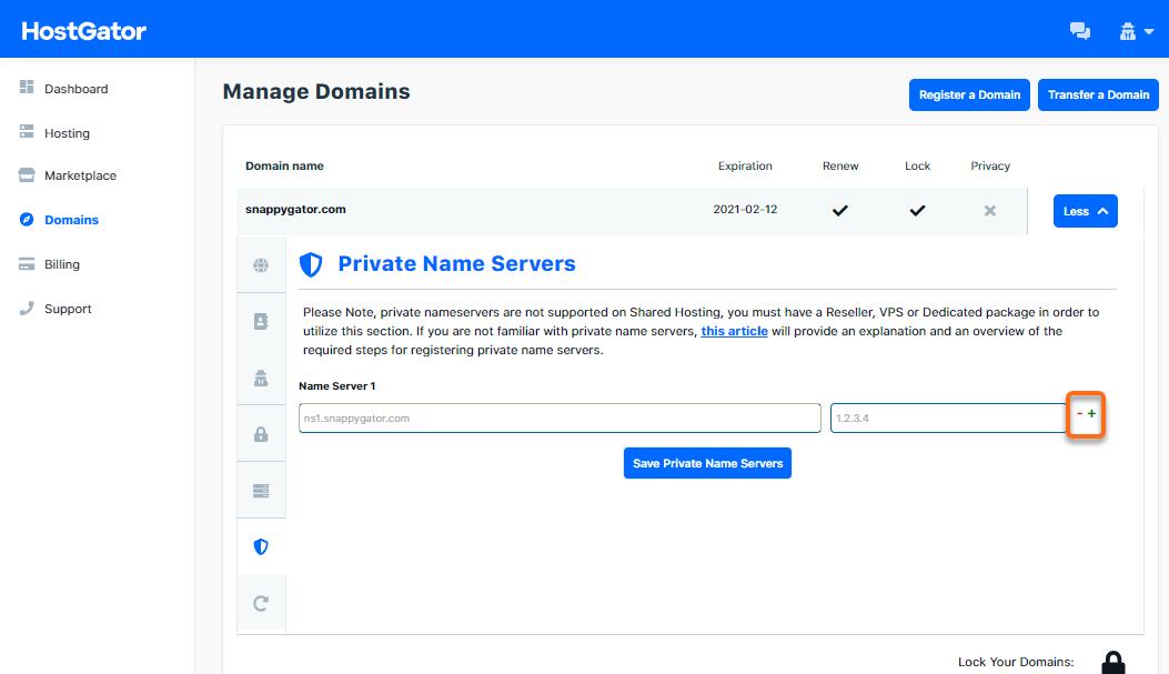 HostGator - Update Private Name Servers