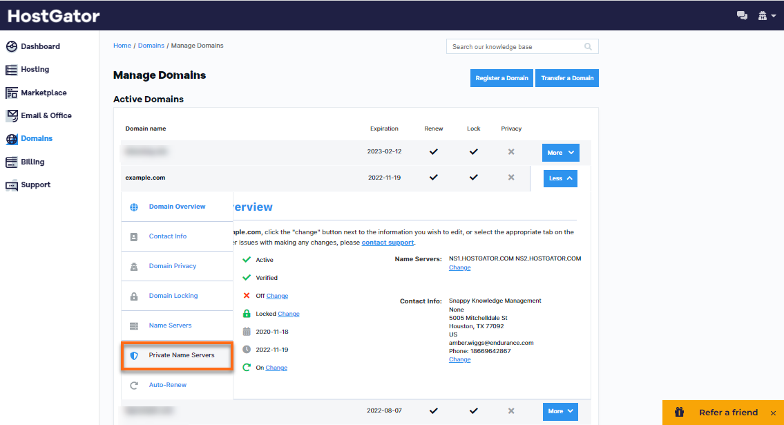 HostGator - Domains - Private Name Servers