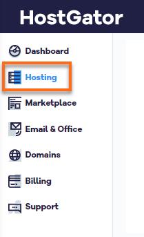 HostGator Billing Portal Hosting Tab