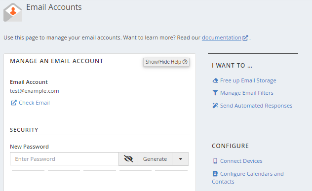 cPanel - Change email password