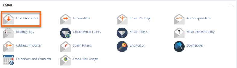 HostGator cPanel webmail icon