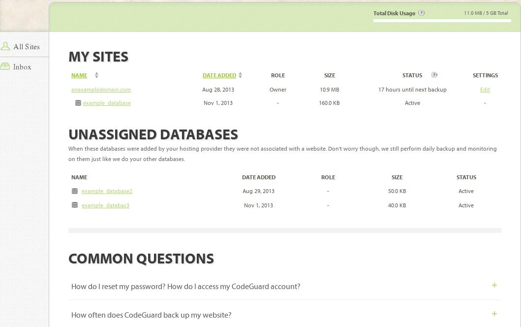 CodeGuard Site Menu