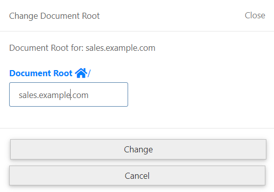 Change Document root pop-up