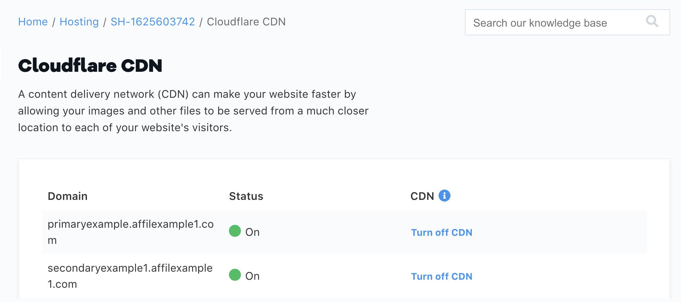 HostGator Cloudflare CDN On Status