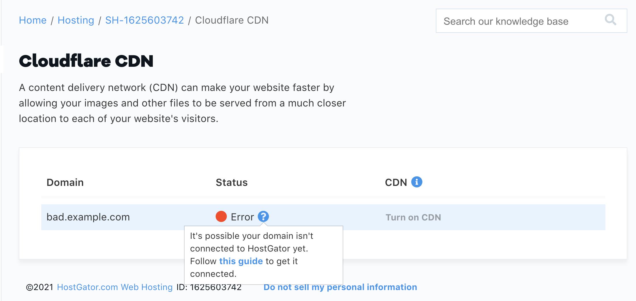 HostGator Cloudflare CDN Error Status