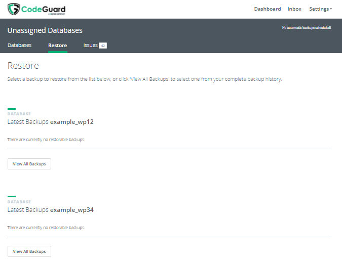 CodeGuard - Database View All