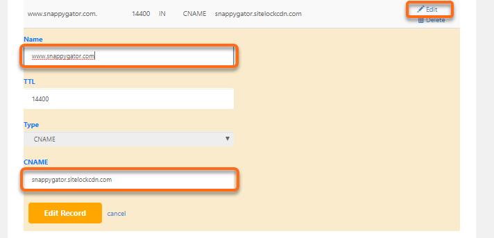 HostGator cPanel Advanced DNS Zone Editor - CNAME