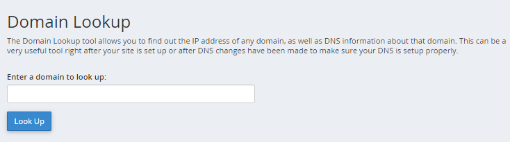 cPanel - Track DNS - Domain Lookup