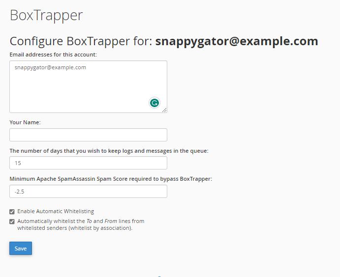 BoxTrapper Set Up Queue