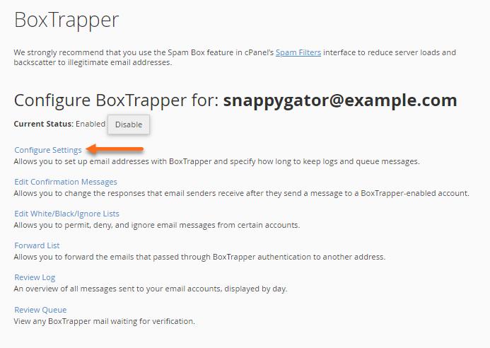 BoxTrapper - Configure Settings