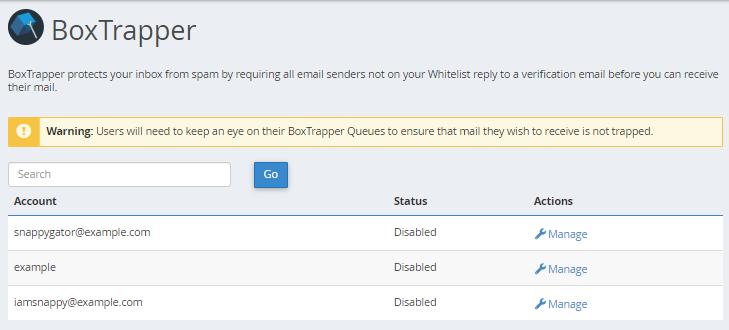 BoxTrapper List of Email Accounts