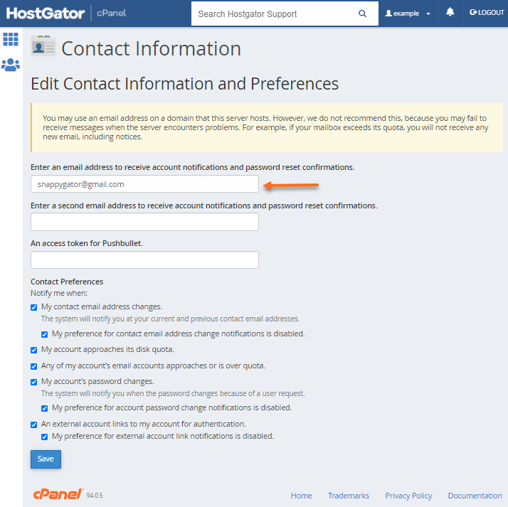 Contact Information Page