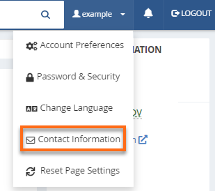 cPanel - Contact Information link