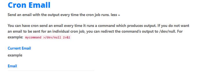 cPanel - Cron Jobs - Cron Email
