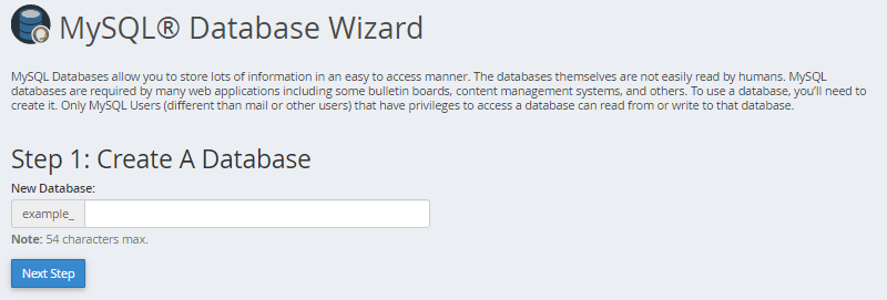 MySQL Step 1