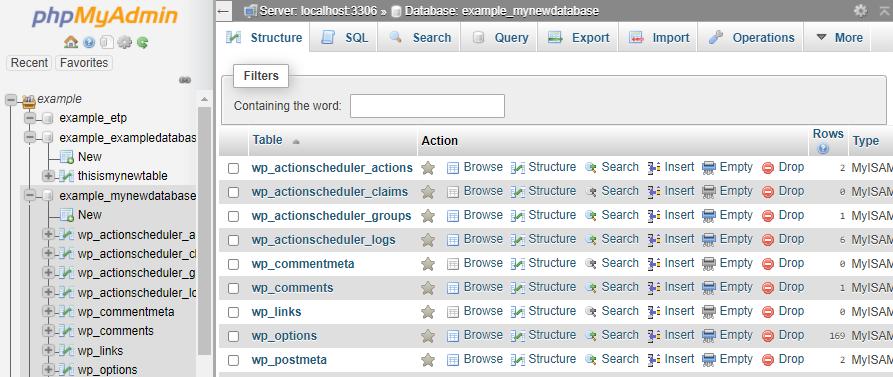 phpMyAdmin - Tables in Database