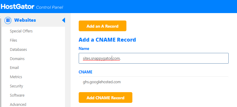 HostGator - cPanel - Simple Zone Editor - Add Cname Record