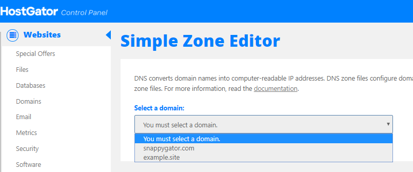 HostGator - cPanel - Simple Zone Editor - Select Domain
