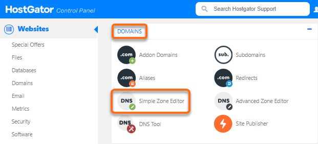 HostGator - cPanel - Simple Zone Editor